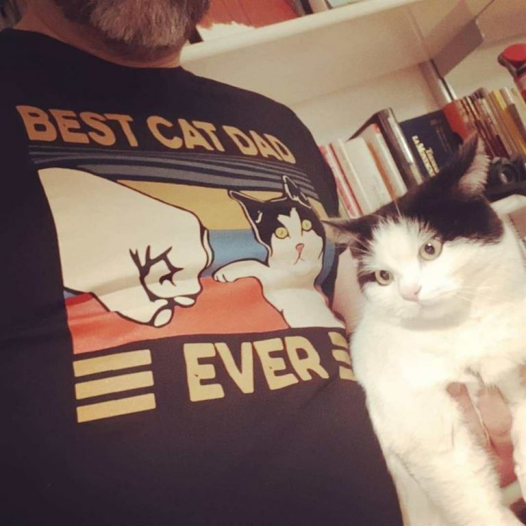 Best Cat Dad Ever Fist Bump With Cat Vintage Shirts Full Size Up To 5xl photo review