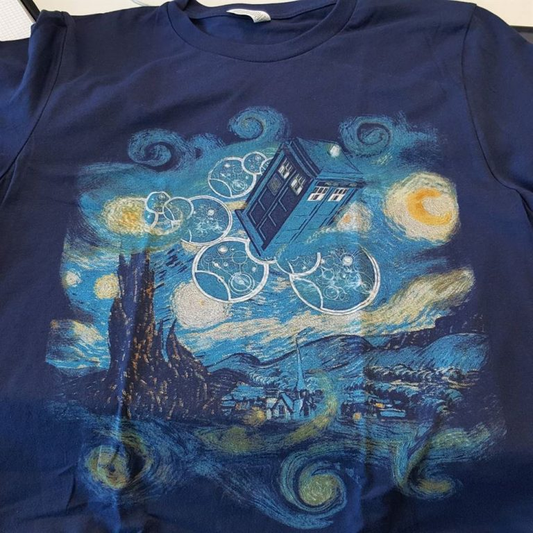Doctor Who Tardis In Starry Night Painting Sky Shirts Plus Size Up To 5xl photo review