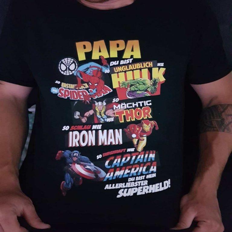 Papa Du Bist So Unglaublich Wie Hulk Spider-man Thor Marvel Shirts Plus Size Up To 5xl photo review