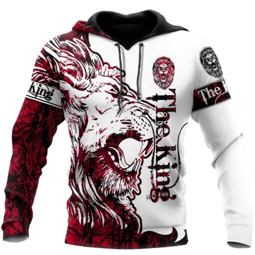 3D The Red Alpha King Lion Tattoo Over Printed Hoodie