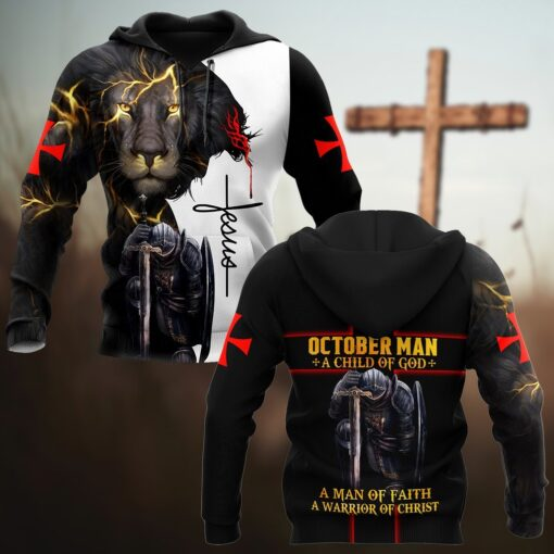 October Man A Child Of God A Man Of Faith A Warrior Of Christ 3D All Over Printed Shirts For Men and Women
