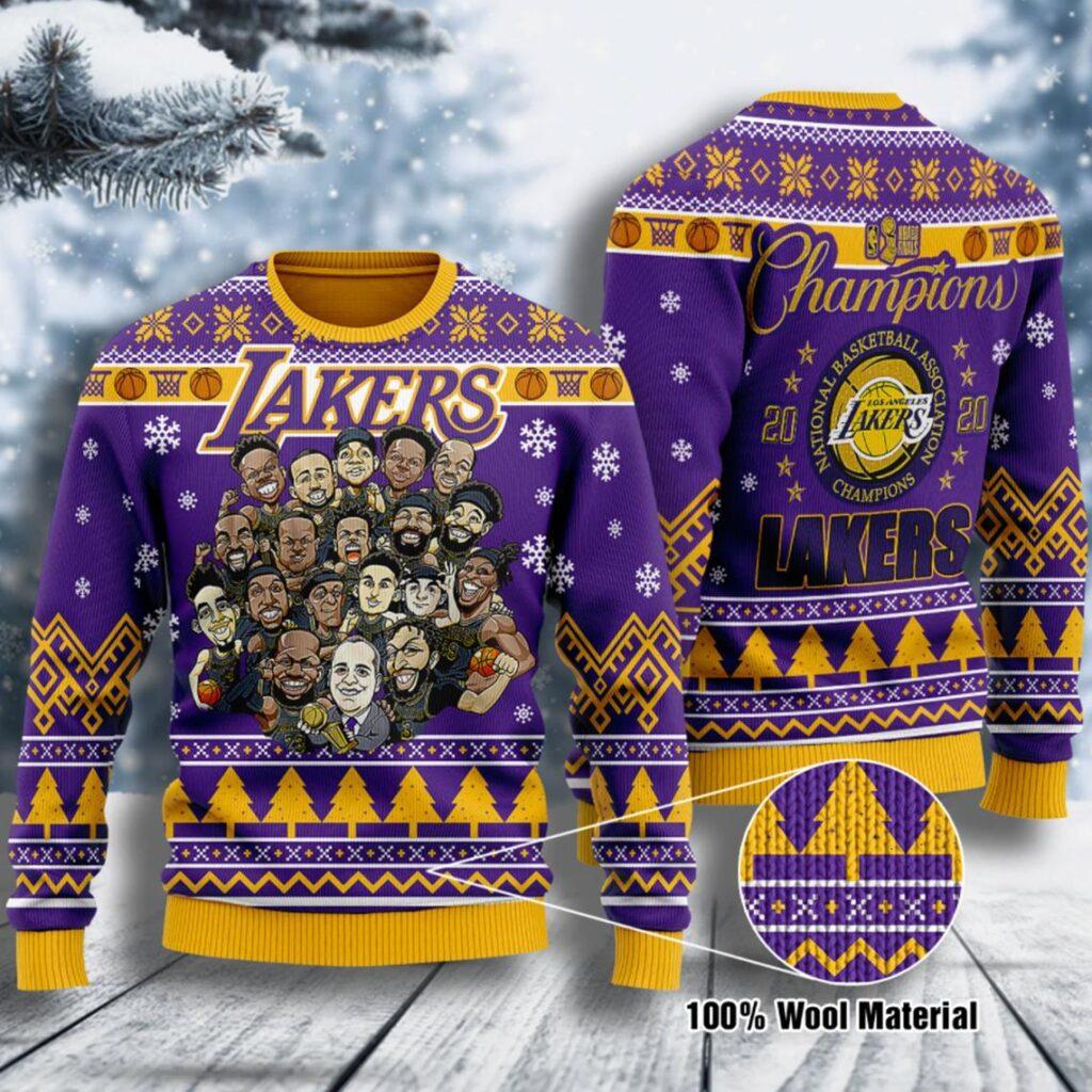 Chibi Los Angeles Lakers Nba Champions La Laker Nba Champion Ugly Christmas Sweater Wool Material