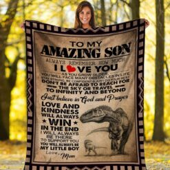 To My Amazing Son Dinosaur Mom And Son Blanket,Quilt
