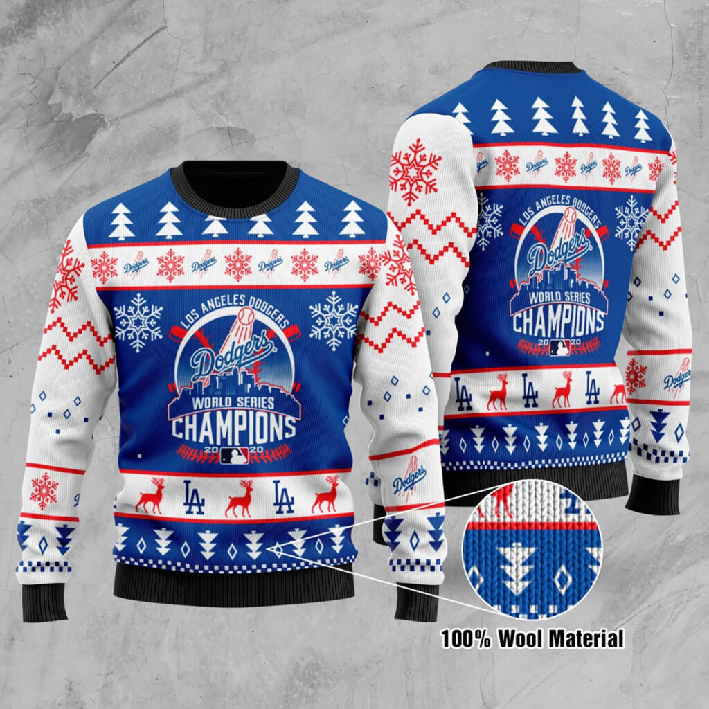 Los Angeles Dodgers World Series Champions La Dodgers World Series Champions Ugly Christmas Sweater Wool Material
