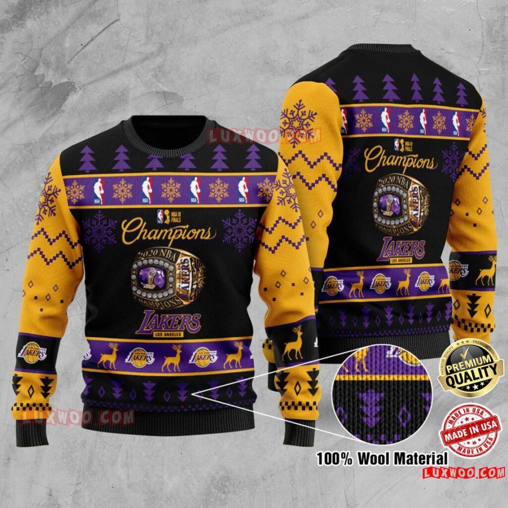 Los Angeles Lakers Nba Champions La Laker Nba Champion Ugly Christmas Sweater Wool Material