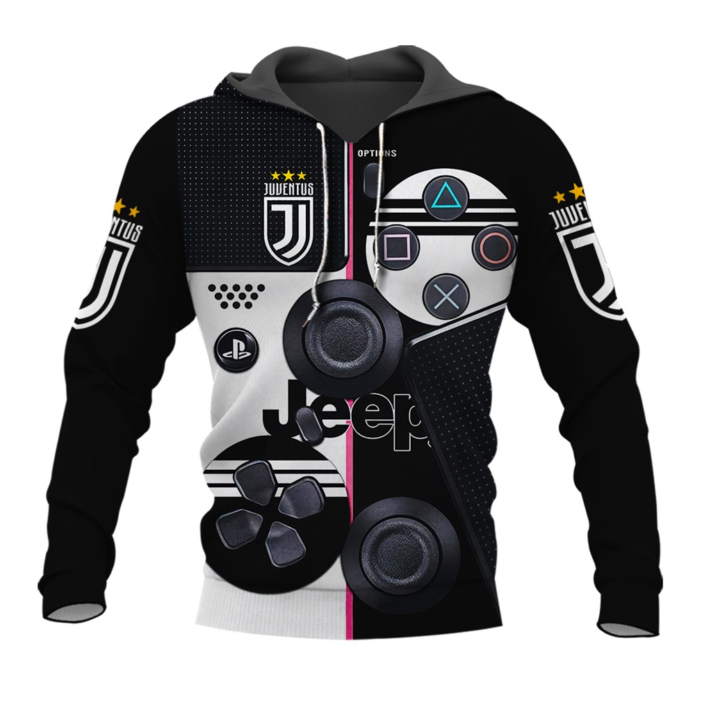 Sony Dualshock 4 Wireless Controllers With Juve Fc 3d All Over Printed Hoodie