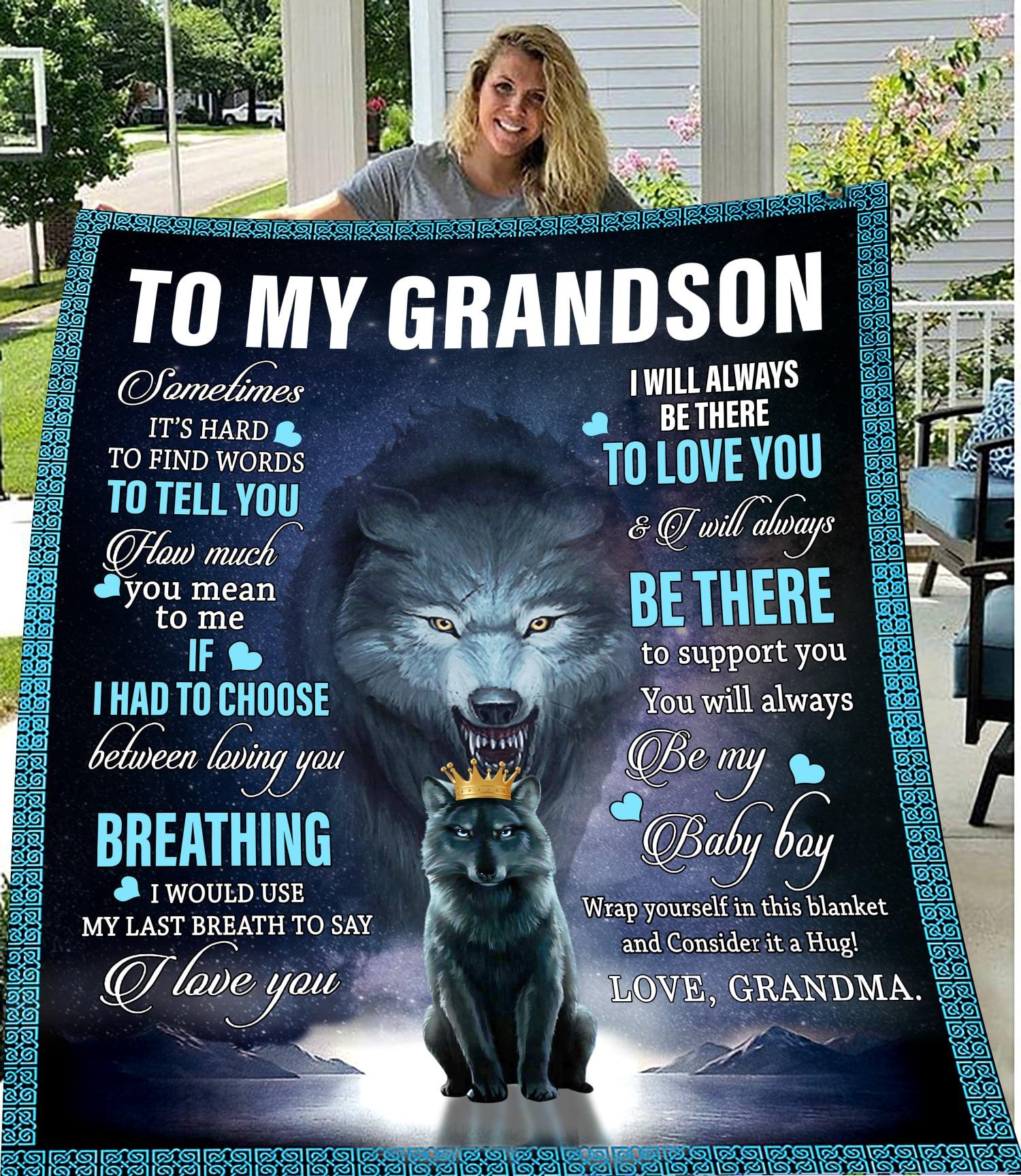 To My Grandson Quilt Blanket