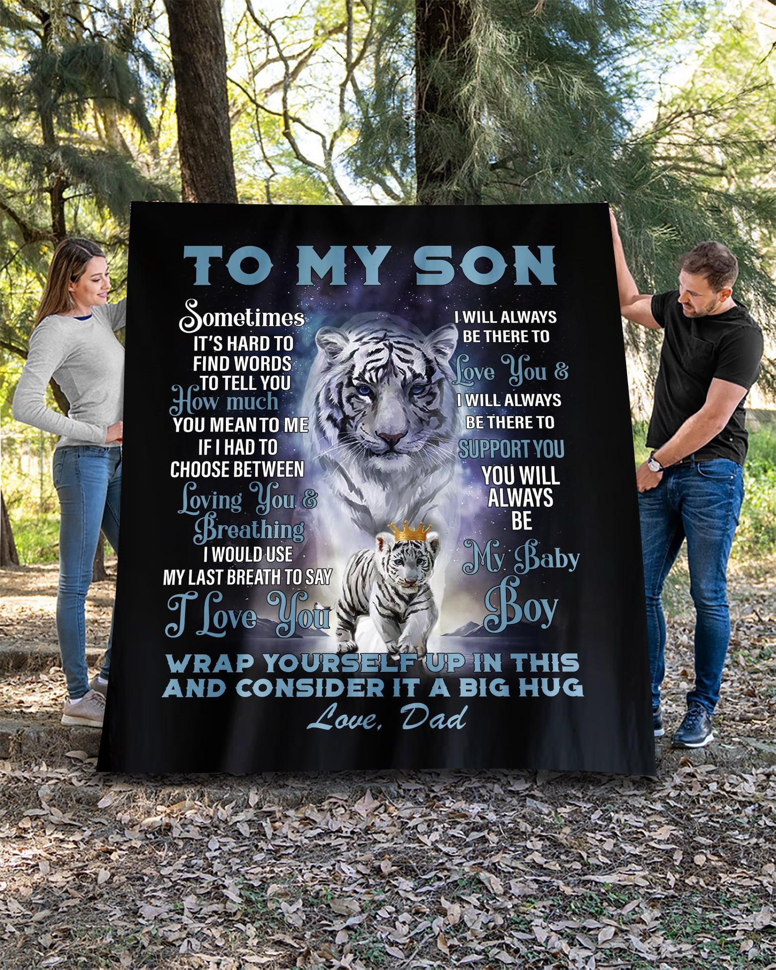 To My Son Love Dad Quilt Blanket