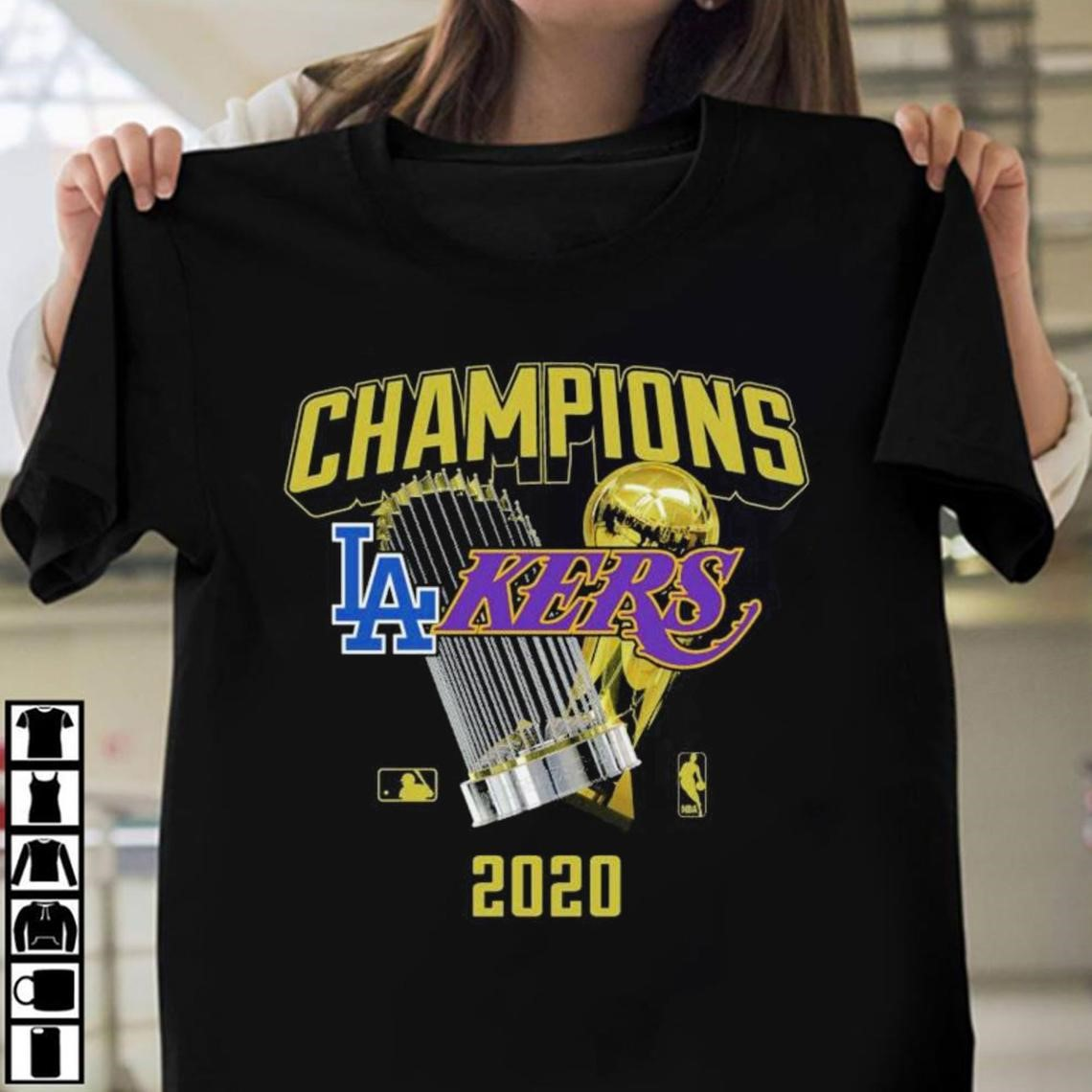 Los Angeles Dodgers Lakers 2020 World Champions Trophies Shirt 2020 World Champions Trophies