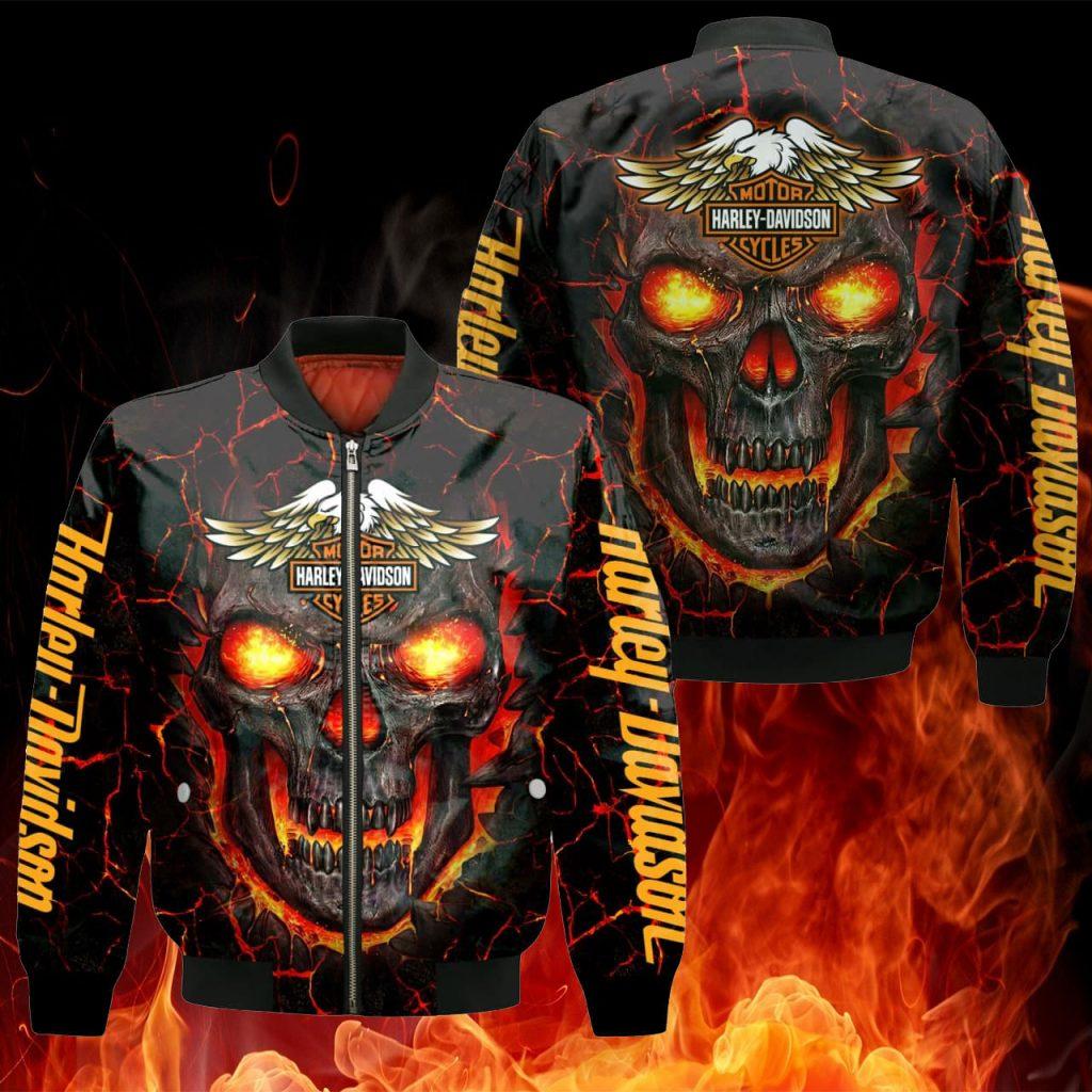 Skull Harley Davidson Sport Hoodie, Zip Hoodie, Bomber Jacket