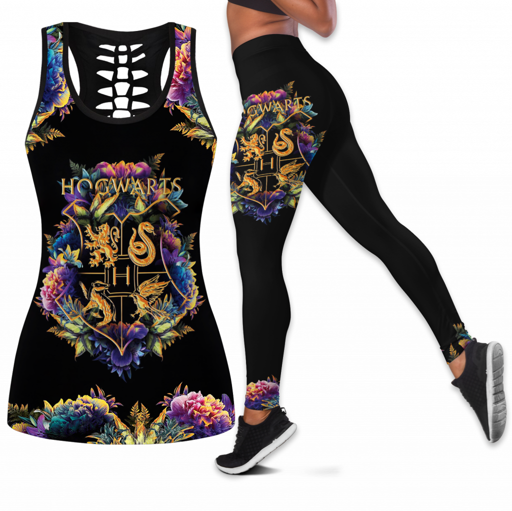 Hogwarts Girl Combo Outfit Hollow Tanktop Legging Set